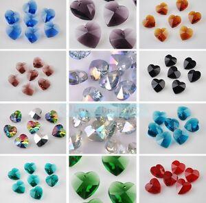 10/50pcs Heart Pattern Faceted Teardrop Loose Crystal Glass Beads Pendants DIY