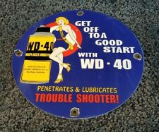 Wd 40 Porcelain Gas Oil Lube Pin Up Girl Service Station Pump Plate Sign