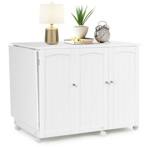 Utility Sewing Table Foldable Craft Cart Shelves Storage Cabinet W/Wheels White
