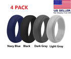 4 Pack Silicone Wedding Engagement Ring Men Women Rubber Band Sport Flexible Us
