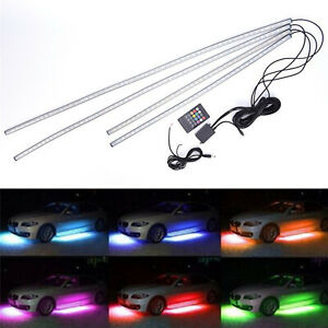 4X8 5050 RGB LED Strip Under Car Tube Underglow Underbody System Neon Light Kit