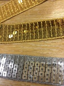 "John Lewis Square Sequin Trim 1m 1"" 25mm Gold / Silver Trimming ribbon"