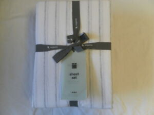 NEW AUTH WEST ELM ORGANIC KING SHEET SET COLOR WHITE/GRAY 90% COTTON 10% LYOCELL