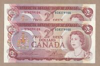 2 x Sequential 1974 $2 Bank of Canada Notes Lawson Bouey Prefix BC: CH-UNC