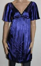 pilgrim Designer Blue Silky Black Floral Lace Trim Day Dress Size 10 BNWT #sV20