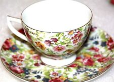 MADE IN JAPAN CUP  SAUCER SET MULTI FLORAL FLOWERS PRETTY FLOWERS GOLD trim