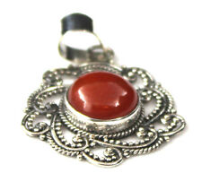 Royal Bali Collection Red Jade (Rnd) Pendant w/o chain, Sterling Silver