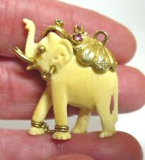 18K GOLD RUBY EMERALD ELEPHANT PENDANT LARGE CHARM CARVED 7.3 GRAMS