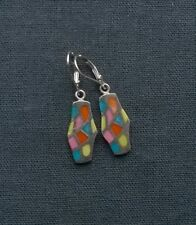 STERLING SILVER MULTICOLOURED TURQUOISE LEVERBACK EARRINGS SOLID 925