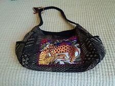 Laurel Burch Medium Bag.  Black/Beige  Cat theme inset panel   EMS