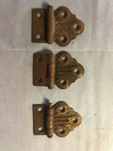 3 Vintage Antique Hinges Butterfly Style Metal Cabinet
