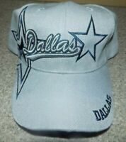 Dallas  GREY  Hat Cap Script Visor Embroidered Signature Double Cowboys Star