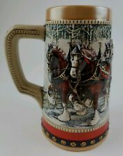 New listing 1988 Anheuser Busch Budweiser Holiday Christmas Beer Stein Clydesdale Ships Free