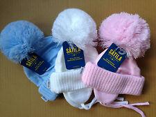 Swedish Designer SATILA baby boys/girls Pom Pom Winter hat White/Pink/Blue