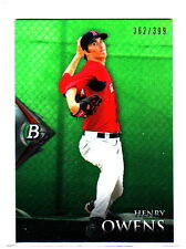 2014 Bowman Platinum Henry Owens Boston Red Sox Base Green Refractor /399