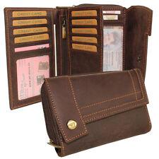 Leather Women's Purse Ladies Wallet Purse Big Wallet Soft Leather Braun
