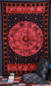 Indien Hippie Gypsy Boho Handmade Zodiac Mandala Cotton Tapestry Throw