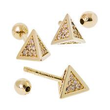 18 Gauge, Petite Triangular Pyramid Tragus Ear piercing in 14k Yellow Gold