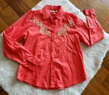 Rockies Women's Button Up Western Shirt Rockabilly Colorful Embroidered Cotton