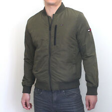 NWT Tommy Hilfiger Mens Nylon Bomber Jacket Olive Classic Fit Large