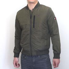 NWT Tommy Hilfiger Mens Nylon Bomber Jacket Olive Classic Fit Large
