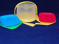 Tupperware NEW Kids Mini Party Set Cake Taker Plates