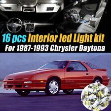 16Pc Super White Car Interior LED Light Bulb Kit for 1987-1993 Chrysler Daytona