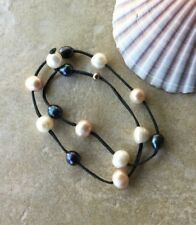 Aussie Kangaroo Leather Wrap a Round Bracelet / Choker with Freshwater Pearls