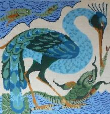 EHRMAN vintage BIRD CATCHING A FISH by NEIL McCALLUM TAPESTRY NEEDLEPOINT KIT