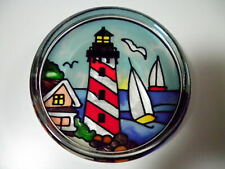 Joan Baker Designs Lighthouse Stained Painted Glass Paperweight