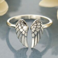 Detailed Angel Wing Double Wings Adjustable Finger Ring - Sterling Silver .925
