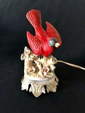 "Red Cardinal Figurine Night Light Sculpture Statue Electric with 74"" Cord"