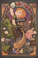 Minecraft - Sword POSTER 61x91cm NEW * pickaxe creeper pig artwork collage