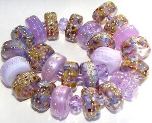 "Sistersbeads ""B-Purple Sand"" Handmade Lampwork Beads"
