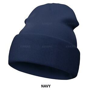 Beanie Hat Cap Solid Plain Knit Ski Skull Cuff Winter Warm Slouchy Men Women