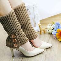 Cn _ Eg _ Femme Hiver Bouton Tricot Jambières Long Legging Bottes Chaussettes