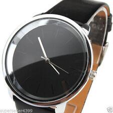 New Women's Fashionable Minimalism Dial Black PU Leatheroid Bands Quartz Watches