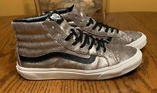 Vans Sk8 Hi Foil Metallic Silver Black Shoes Mens 8.5 Womens 10 Shoes RARE