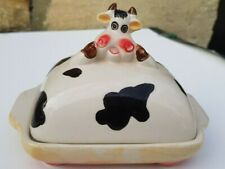 VINTAGE COW BUTTER DISH CERAMIC HAND CRAFTED GLAZED BLACK SPOTS ROSE CHEEKS