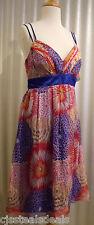 Oleg Cassini 100% Silk Spaphetti Strap Royal Blue Red Party Dress Size 8 $148