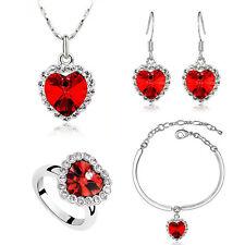 Romantic Dark Red Hearts Jewellery Set Earrings Necklace Bracelet & Ring S341