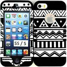 for iPhone SE 5 5S case, Hybrid Slim Cover Black & White Tribal Aztec Black Gel