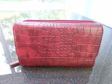 Mundi Big Fat Wallet Red Croco Faux Leather Clutch/Checkbook Cover/Organizer