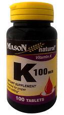 Vitamin K 100 mcg Dietary Supplement Essential for proper blood clotting100 tabs