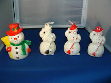 (Lot of 4) Vintage Hard Plastic Snowman Collectibles