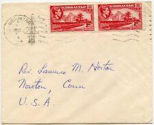 Gibraltar 1951 impreso ilustrado sobre envío American 2d + 2d de exportación a Estados Unidos
