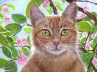 BCB Orange Tabby Cat Cherry Blossom Tree Print of Painting ACEO 2.5 x 3.5 Inch