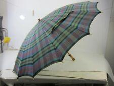 Vintage Green, Blue & Red Plaid Umbrella w/Apple Juice Bakelite Handle