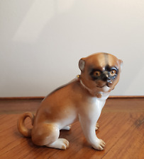 CHIEN CARLIN FIGURINE PORCELAINE DE PARIS FIN XIXe ANIMALIER
