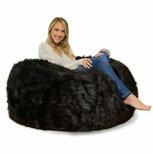"""1 PC Awesome Fully Furry Velvet Black Bean Bag Cover (34""""x34""""x20"""") without Beans"""